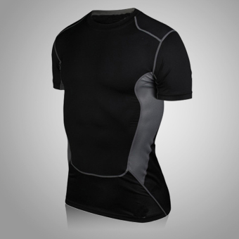 Running basketball compression training clothes base shirt slim fit clothing (Stitching models short sleeved black)