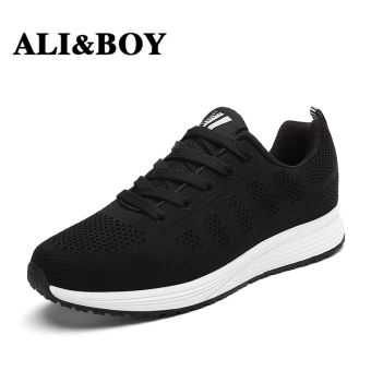 Running casual mesh shoes autumn and winter women's shoes (Black)