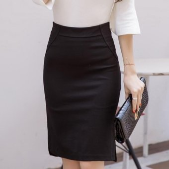 S-5XL Plus Size Women Clothing Midi Skirt Women 2017 Fashion OLOffice Pencil Skirts Women's zipper High Waist Skirt Black - intl
