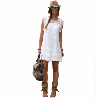 S - 5XL Summer Elegant Vestidos Women Casual Lace Mini Dress Ladies Sexy Plus Big Size White Dress - intl