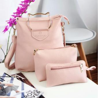 S014  Jingpin 3in1 Bag with Cat Handle Shape (Pink)