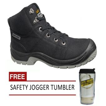 Safety Jogger Desert S1P High Cut Men Safety Shoes Footwear SteelToe (Black) with Free Safety Jogger Tumbler