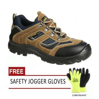 Safety Jogger X2020 S3 Low Cut Men Safety Shoes Footwear Steel Toe(Brown) with Free Safety Jogger Gloves (Construhot)