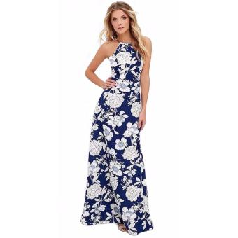 Samantha Floral Cotton Halter Maxi Dress (Blue)