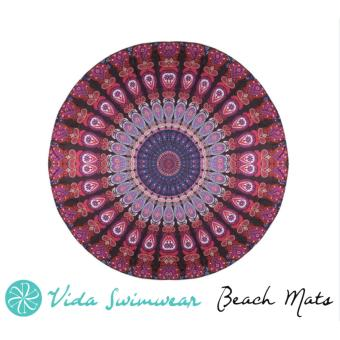 Sand-Free Round Beach Mat Vivid Tribal Festive Printed Boho Beach Mat Shawl Towel and Yoga Mat