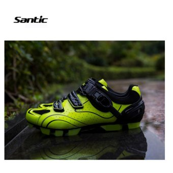 Santic Men MTB Cycling Shoes Auto-lock Bicycle Shoes Mountain Bike For Shimano SPD Eggbeater System Shoes 3 Colors,Black Green - intl - 4
