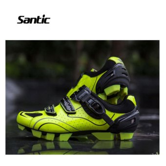 Santic Men MTB Cycling Shoes Auto-lock Bicycle Shoes Mountain Bike For Shimano SPD Eggbeater System Shoes 3 Colors,Black Green - intl - 3