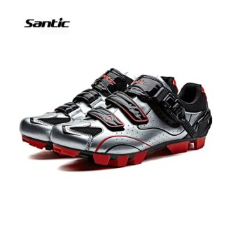 Santic Men MTB Cycling Shoes Auto-lock Bicycle Shoes Mountain Bike For Shimano SPD Eggbeater System Shoes 3 Colors,Silver Red - intl