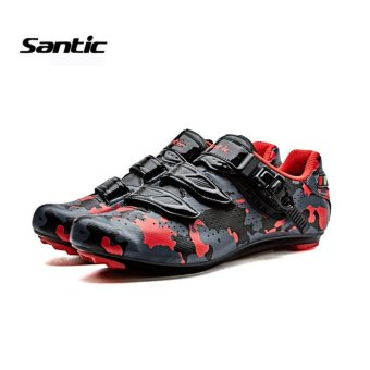 Santic Road Cycling Bicycle Shoes Bike Self-locking Look,SPD-SL,Speedplay System Men and Women Shoese Euipment Camouflage Series 3Colors Bicycle Shoes, Black-Red - intl