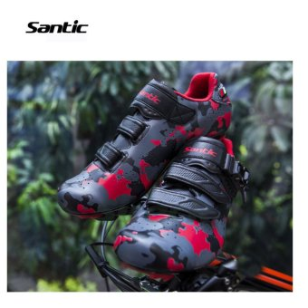 Santic Road Cycling Bicycle Shoes Bike Self-locking Look,SPD-SL,Speedplay System Men and Women Shoese Euipment Camouflage Series 3Colors Bicycle Shoes, Black-Red - intl - 3