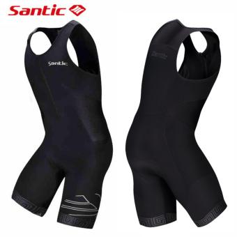 Santic Triathlon Cycling Jersey 4D Pad Quick Dry Sleeveless Cycling Skinsuit Bike Jersey Clothes For Swimming Running Riding - 5