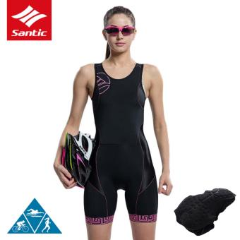 Santic Women's Triathlon One-pieces Sleeveless Cycling Jersey Quick Dry Breathable Cycling Clothing Skinsuit Bicycle Bike Jersey