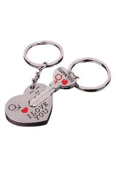 Sanwood 1 Pair Lover Couple Heart Keychain Gift