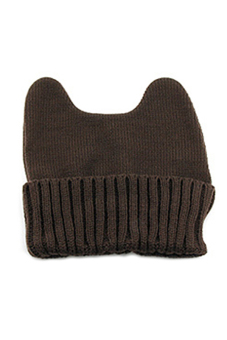 Sanwood Cat Ear Shape Knitted Beanie Cap Coffee