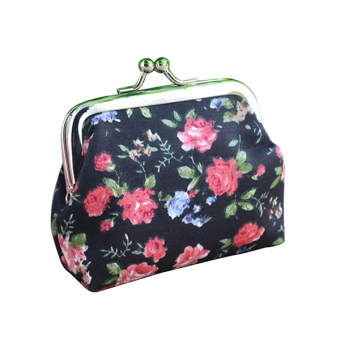 Sanwood Rose Print Floral Coin Clutch Bag (Black) - picture 2