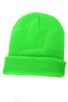 Sanwood Unisex Solid Color Plain Beanie Knit Hat Green