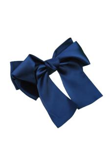 Sanwood Women Satin Ribbon Bow Hair Clips Dark Blue