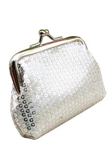 Sanwood Women's Coin Purse Bling Key Bag Clutch Silver