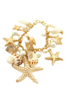Sanwood Women's Ocean Starfish Conch Shell Pearl Chain Bracelet