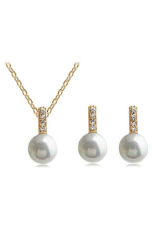 Sanwood Women's Wedding Faux Pearl Jewellery Set Gold