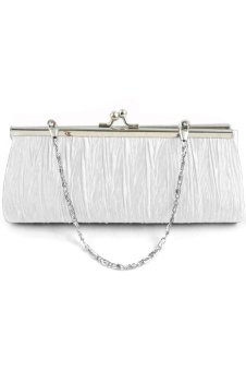 Satin Evening Party Wedding Purse Clutch Handbag Single Shoulder Bag Small Hasp Coin Purse with Chain White