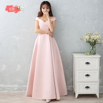 Satin long New style bridesmaid sisters dress bridesmaid dress (Jade pink E Models)