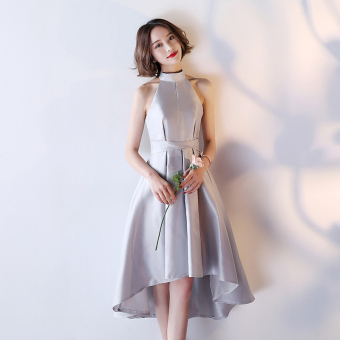 Satin New style bridesmaid dress Dress bridesmaid dress (Silver color E Models)