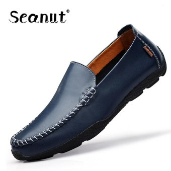 Seanut Fashion Genuine Leather Casual Loafers Men Driving Shoes(Dark Blue) - intl