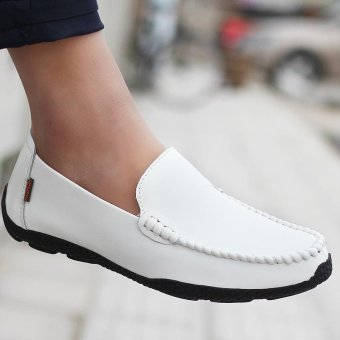 Seanut Fashion Genuine Leather Casual Loafers Men Driving Shoes(White) - intl - 4