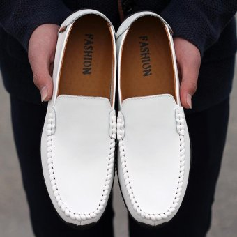Seanut Fashion Genuine Leather Casual Loafers Men Driving Shoes(White) - intl - 3