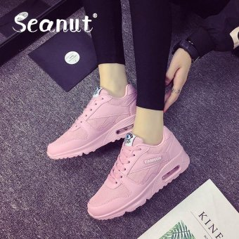 Seanut Fashion Korean Women Shoes Spring Tenis Feminino Casual Shoes Outdoor Walking Shoes Women Flats Lace Up Ladies Shoes(Pink)