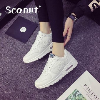 Seanut Fashion Korean Women Shoes Spring Tenis Feminino Casual Shoes Outdoor Walking Shoes Women Flats Lace Up Ladies Shoes(White)