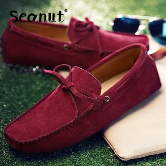 Seanut Fashion Leather Slip On Men Loafers Casual Shoes (Red) -intl
