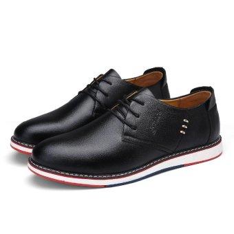 Seanut Fashion Men's Casual Shoes Lace Up Split Leather Shoes(Black) - intl - 4