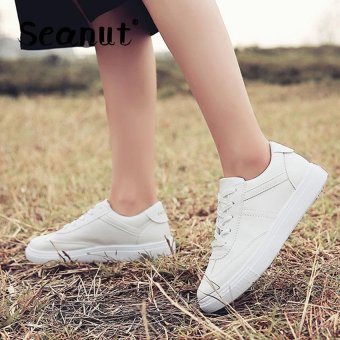 Seanut Fashion Sneakers Women Casual Sports Lace Up Shoes(White) - intl