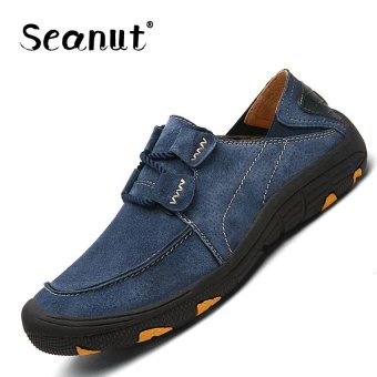 Seanut Men Genuine Leather Sport Shoes Outdoor Hiking Shoes(Blue) - intl