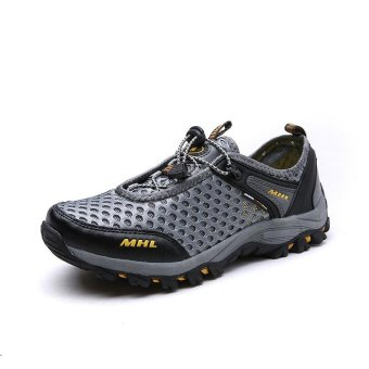 Seanut Men Textile Breathable Outdoor Hiking Shoes (Grey) - intl - 3