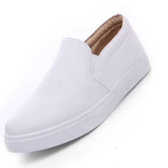 Seanut Men's Casual Slip-On Loafers PU Upper Casual Shoes (White)
