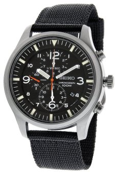 Seiko Chronograph Men's Black Fabric Strap Watch SNDA57P1