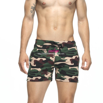 Seobean comfortable cotton breathable Slim fit running shorts I shorts (Camouflage green)