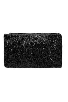Sequins Clutch Evening Party Bag (Black)