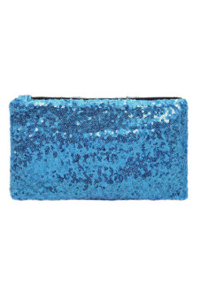 Sequins Clutch Evening Party Bag (Sky Blue)