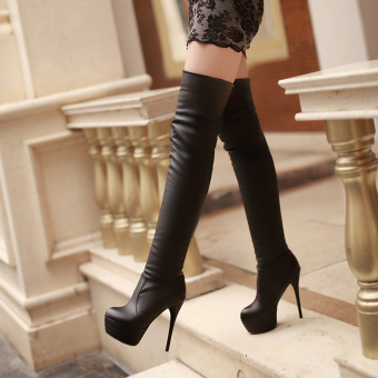 Sexy Boots Women 2017 Ultra High Heels Boots Platform Thin HeelsLong Boots (black) - Intl
