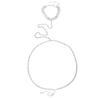 Sexy Cleavage Crystal Tie Belly Chain Waist Rhinestone