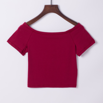 Sexy cotton female waist bottoming shirt T-shirt (Wine red)