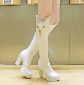 Sexy crystal waterproof platform round boots Martin boots (White)