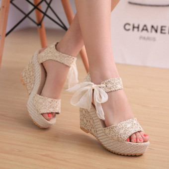 Sexy Lace Shoes Peep Toe Wedge Womens Platform High Heel Pump Sandals Bowknot Beige-Intl