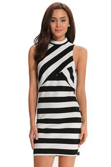 Sexy Sleeveless Bodycon Pencil Dress (White/Black)
