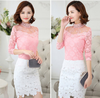 Sexy Women Deep O Neck Shirt Lace Floral Long Sleeve Blouse Tops (Pink) Price Philippines