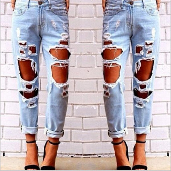 Sexy Women Destroyed Ripped Distressed Slim Jeans